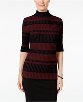 Style&Co. Style & Co Striped Mock-Neck Sweater, Only at Macy's