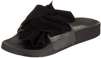 Colours of California Women's Eva Slipper with Leather Upper in Bow Open Toe Sandals, Black BLA