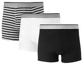 John Lewis Organic Cotton Stripe Solid Hipster Trunks, Pack Of 3, Black/grey/white
