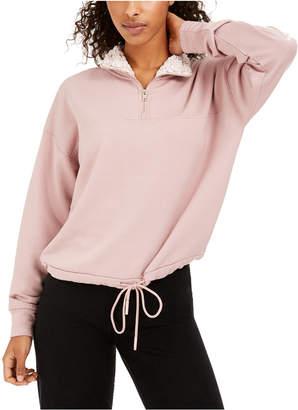 Hippie Rose Juniors' Sherpa Lined Quarter-Zip Sweatshirt