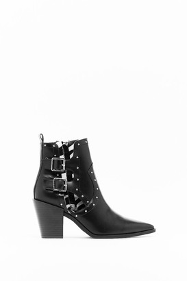 Nasty Gal Womens Cut-Out Them Off Faux Leather Western Boots - Black