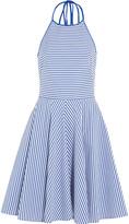 Michael Kors Striped stretch cotton-blend poplin mini dress