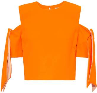 Milly Ansley Cold-shoulder Knotted Neon Crepe Top