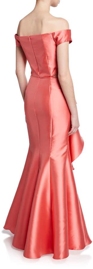 David Meister Off-the-Shoulder Ruffle Gazaar Gown