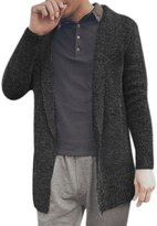uxcell® Men Long Sleeves Shawl Collar Open Front Cardigan Grey M