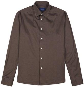 Eton Brown cotton-jersey shirt