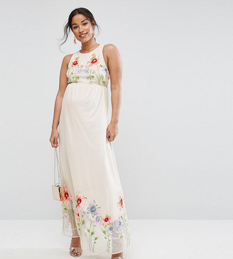 Asos TALL Embroidery Mesh Maxi Dress