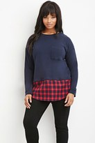 Forever 21 Plaid Layered Sweatshirt