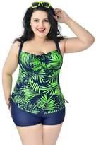 Ilishop Women's Plus Size Printed 2 Pieces Tankini Top & Boyshorts Swimsuits Swimwear