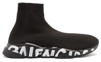 Balenciaga Speed Graffiti-logo Sock Trainers - Black
