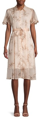 70/21 Floral Chiffon Shirt Dress