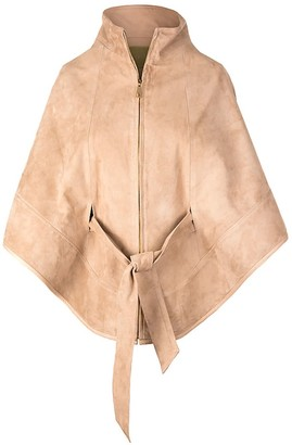 Zut London Suede Leather Cape With Belt Beige