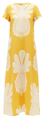La DoubleJ Swing Big Pineapple-print Silk Dress - Yellow Print