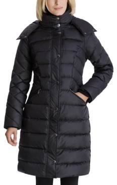 London Fog Faux-Fur Collar Hooded Puffer Coat
