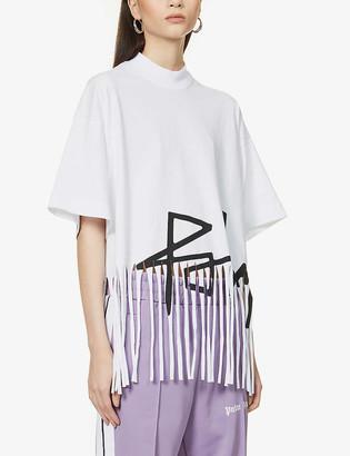 Palm Angels Desert logo-print fringed cotton-jersey top