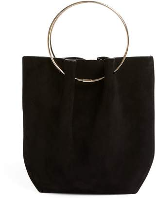 The Row Suede Micro Flat Circle Bucket Bag