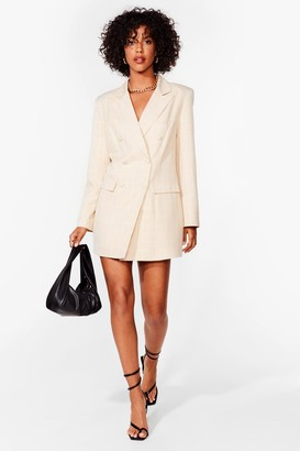 Nasty Gal Womens Let's Check It On Mini Blazer Dress - Beige - 6