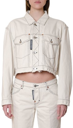 DSQUARED2 Ivory Color Cropped Jacket In Cotton