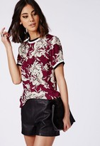 Missguided Sports Rib Floral Shell Top Burgundy