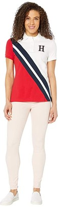 Tommy Hilfiger Adaptive Polo Shirt with Magnetic Buttons (Bright White/Tango Red/Core Navy) Women's Clothing