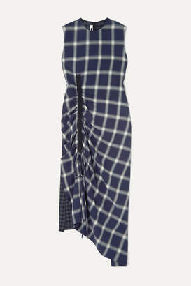 McQ Draped Paneled Checked Flannel Dress - Navy