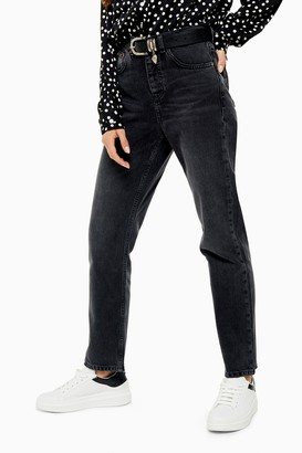 Topshop Washed Black Straight Leg Jeans