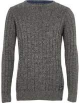 River Island Boys grey textured knit sweater