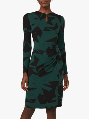 Phase Eight Gretchen Abstract Star Print Knee Length Dress, Green