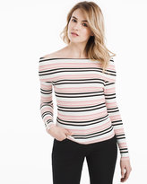 White House Black Market Off-the-Shoulder Striped Pullover Sweater