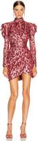 Jonathan Simkhai Metallic Mockneck Wrap Dress in Sienna Combo | FWRD