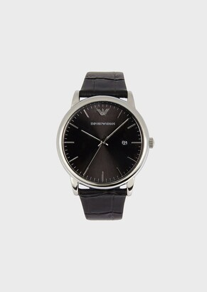 Emporio Armani Man Three-Hands Leather Watch