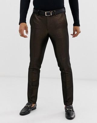 ASOS DESIGN skinny suit trousers in metallic