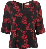Biba Rose print overlay zip back blouse