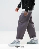 Asos Wide Leg Chinos In Dark Grey