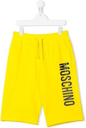 MOSCHINO BAMBINO TEEN logo-print track pant shorts