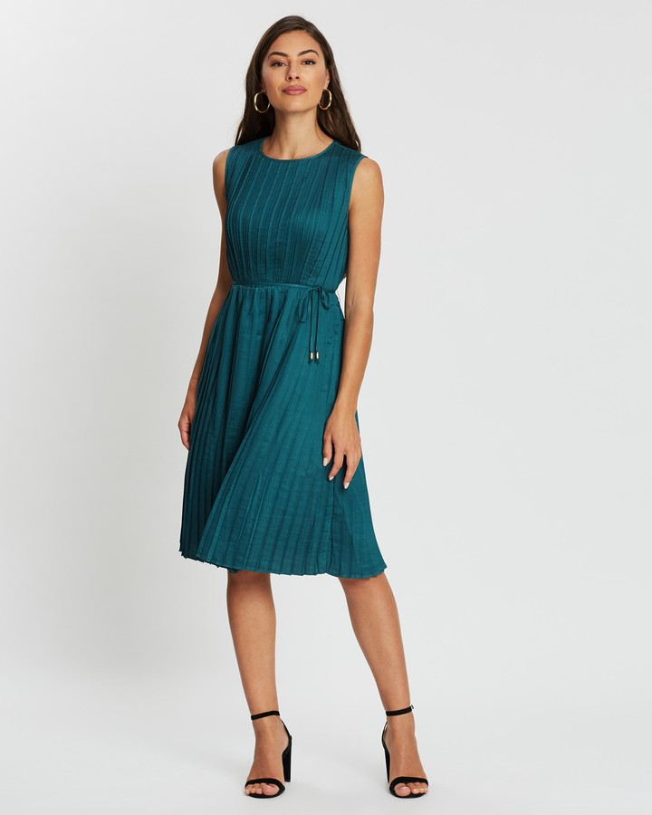 Atmos & Here Ayla Pleated Tie Dress