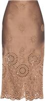 Rochas Broderie-anglaise duchess-satin pencil skirt