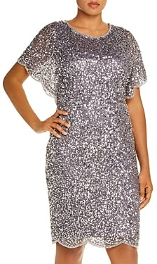 Adrianna Papell Plus Beaded Flutter Sleeve Dress