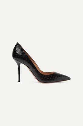 Aquazzura Purist 95 Croc-effect Leather Pumps - Black