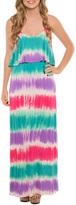 Aqua Tie-Dye Blouson Maxi Dress