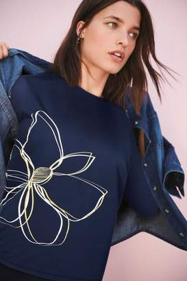 Next Womens Navy Flower Graphic Washed Long Sleeve Top - Blue