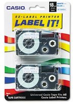 Casio Tape Cassettes For KL Label Makers 18mm X 26ft Blue On White 2/Pack Reliability