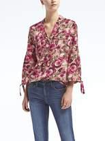 Banana Republic Dillon-Fit Floral Poet-Sleeve Shirt