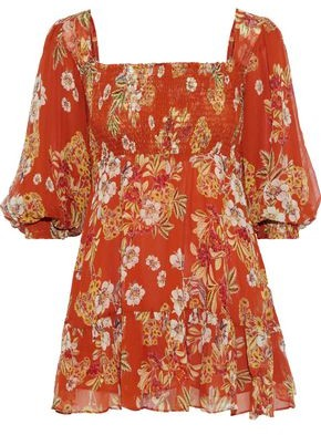 Nicholas Shirred Floral-print Silk-georgette Mini Dress