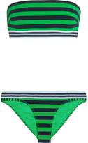 Stella McCartney Calypso Striped Bandeau Bikini - Bright green