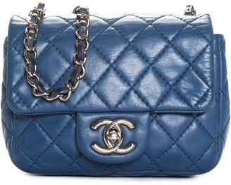 Chanel Blue Quilted Lambskin Leather Single Half Flap Mini Crossbody