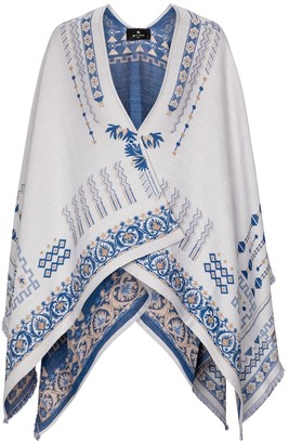 Etro Embroidered wool-blend shawl
