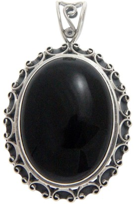 Novica Handmade Onyx Pendant, 'Midnight Lace'
