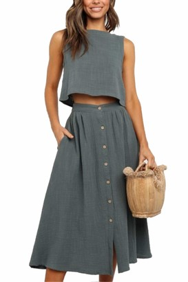 Zilcremo Women Summer 2 Piece Outfit Crop Tops with Long Skirt Set with Pockets Green M