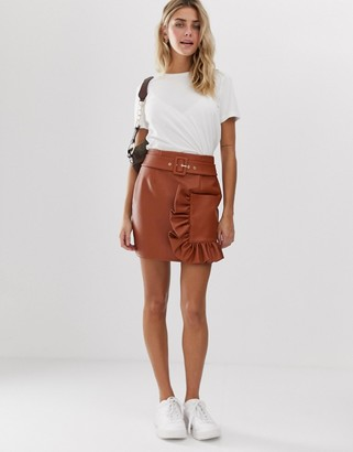 Asos Design DESIGN leather look mini skirt with ruffle pocket-Brown